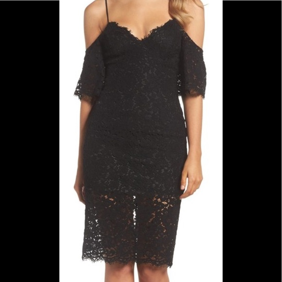 6a8405a53e3 Bardot Karlie Black Lace Cold Shoulder Dress